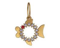 Дивный золотой кулончик 585* пробы в форме рыбки
