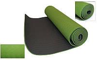 Коврик для фитнеса Yoga mat 2-х слойный TPE+TC (Зеленый-серый)