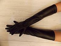 Перчатки длинные выше локтя эко кожа с утеплителем флис50см