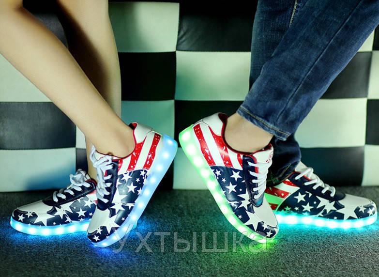 096d64a3809d0a Светящиеся кроссовки LED лед, американский флаг, цена 649 грн., купить в  Черноморске — Prom.ua (ID#240031767)