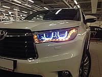 Toyota Highlander XU50 2014 оптика передняя тюнинг ДХО/ headlights DRL LED TLZ