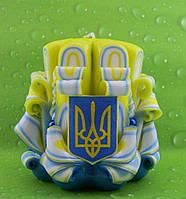 Патриотическая резная свеча ручной работы с Гербом Украины, 10 см высотой, на подарок, на сувенир