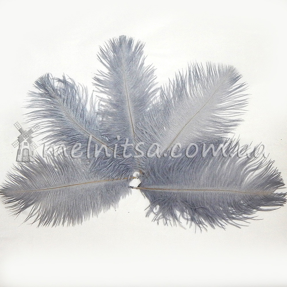 Перо страуса, 10-15 см, серый