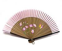 Веер бамбук+ шелк с рисунком (21,5 см)