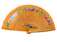 Веер деревянный с рисунком лакированный (19 см)