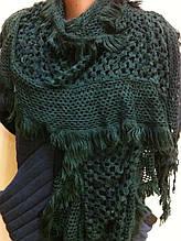 Стильный  ажурный шарф кружевной вязки цвет зеленый