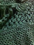 Стильний ажурний шарф мереживний в'язки колір зелений, фото 4