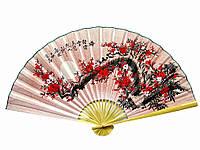 """Веер настенный """"Сакура на розовом фоне с иероглифами"""" (90см)"""