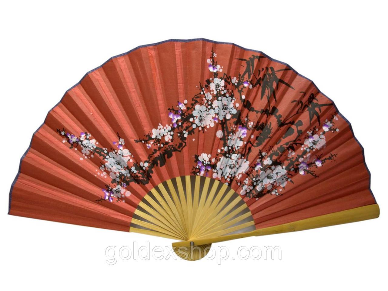 Веер настенный бамбук+ткань (50см)