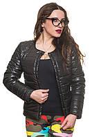 Короткая черная осенняя куртка Эмма 42-54 размеры