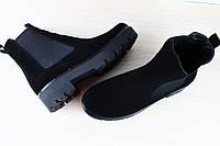 Ботинки женские черные замшевые без каблука на резинке