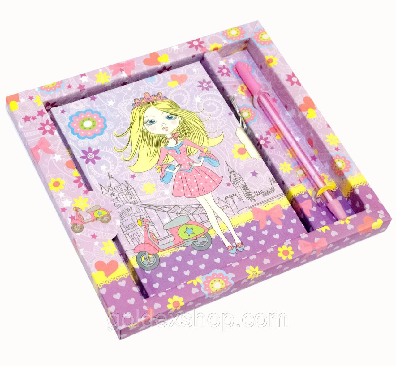 Блокнот с замком для девочек (2 ключа, ручка) (19х18х2 см)