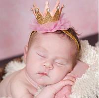 Повязка на голову - корона с розовым фатином, золото