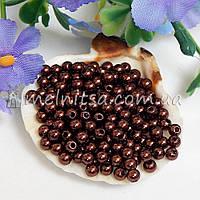 Бусины коричневые, 4 мм (5 грамм)