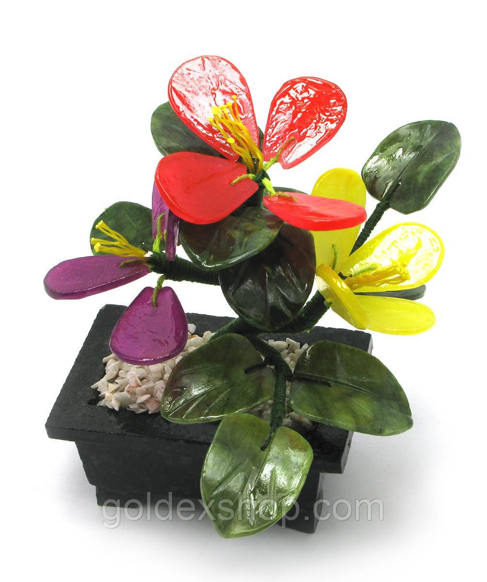 Дерево с цветами (3 цветка) (13х11х9 см)