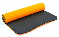 Коврик для фитнеса Yoga mat 2-х слойный TPE+TC (Оранжевый-черный)