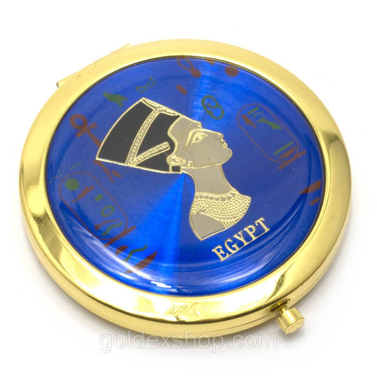 """Зеркальце косметическое """"Египет"""" золото (d-7 см) (в коробке + чехольчик)"""