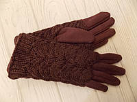 Перчатки меховые с вязанными митенками