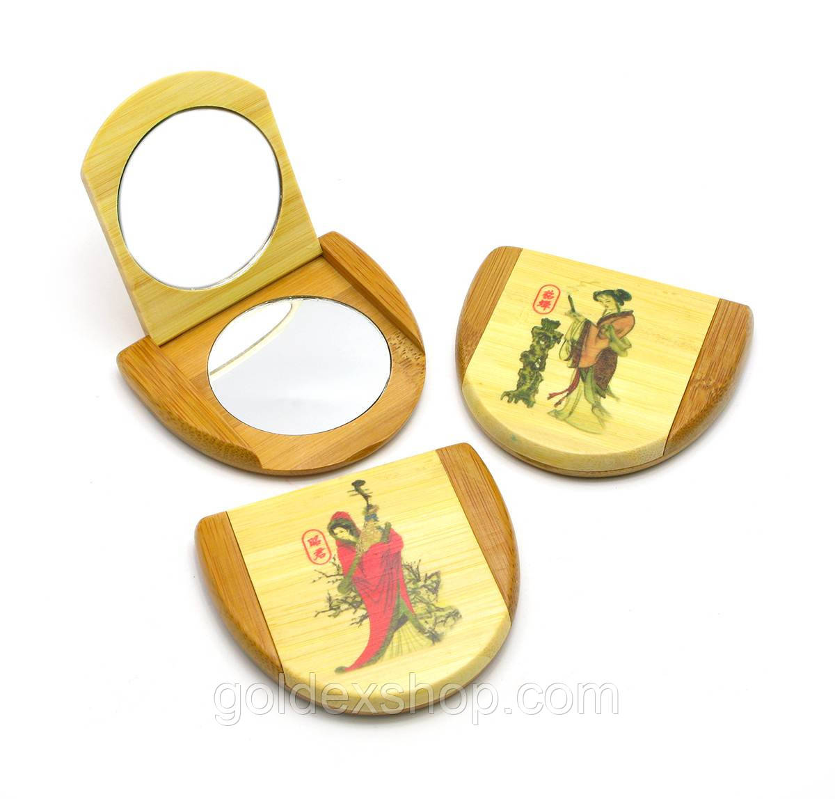 Зеркальце косметическое бамбуковое (8х7х1,5 см)
