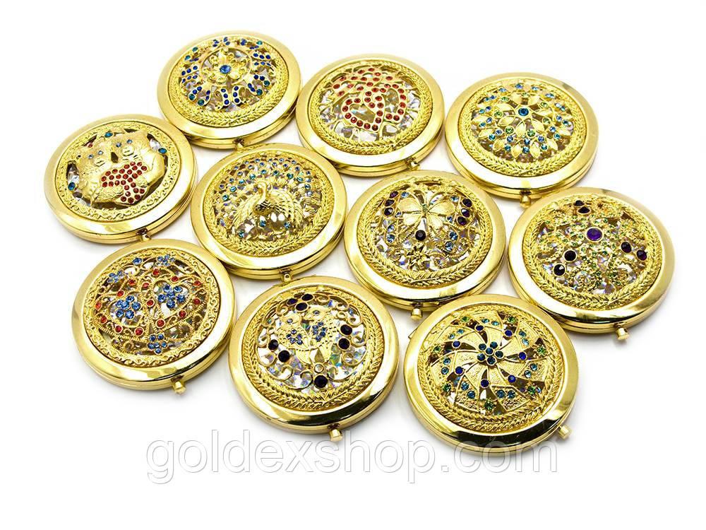 Зеркальце косметическое с каменьями золото (d-7 см) (в коробке + чехольчик)