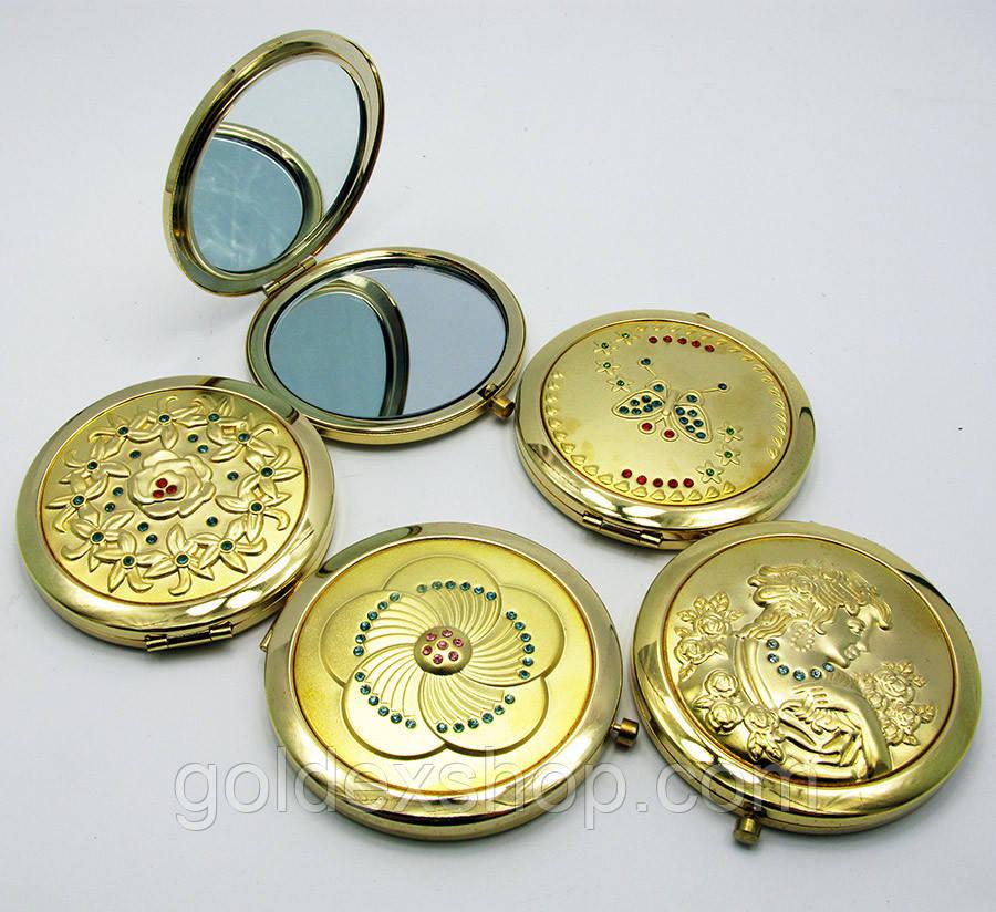 Зеркальце косметическое с камнями золотое напыление (в коробке + чехольчик)