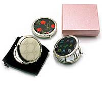 Зеркальце косметическое с рисунком хром (d-7 см) (в коробке + чехольчик)