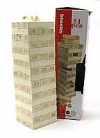 """Игра настольная """"Дженга"""" с игральными костями (51 брусок) (28х8х8 см)"""