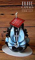 Свеча церковная с крестиком, ручная работа, черно-голубого цвета