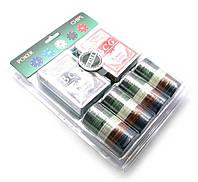 Покерный набор (2 колоды карт,сукно,100 фишек) (25х19,5х4,5 см) (вес фишки 4 гр. d-39 мм)