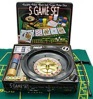 Покерный набор + рулетка (5 в 1) (33х29х7 см) (вес фишки 4 гр. d-39 мм)