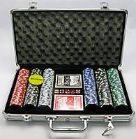 Покерный набор в аллюминевом кейсе (300 фишек) (39х21х7 см) (вес фишки 4 гр. d-39 мм)