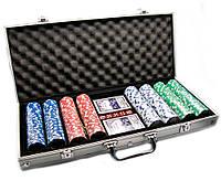 Покерный набор в алюминиевом кейсе (2 колоды карт + 400 фишек) (48,5х22,5х6,5 см)