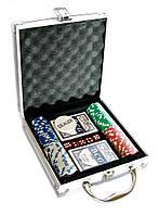 Покерный набор в алюминиевом кейсе (2 колоды+100 фишек) (23х20,5х6см) (вес фишки 4 гр. d-33мм)