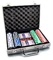 Покерный набор в алюминиевом кейсе (2 колоды+200 фишек) (30х22х7см) (вес фишки 4 гр. d-39 мм)