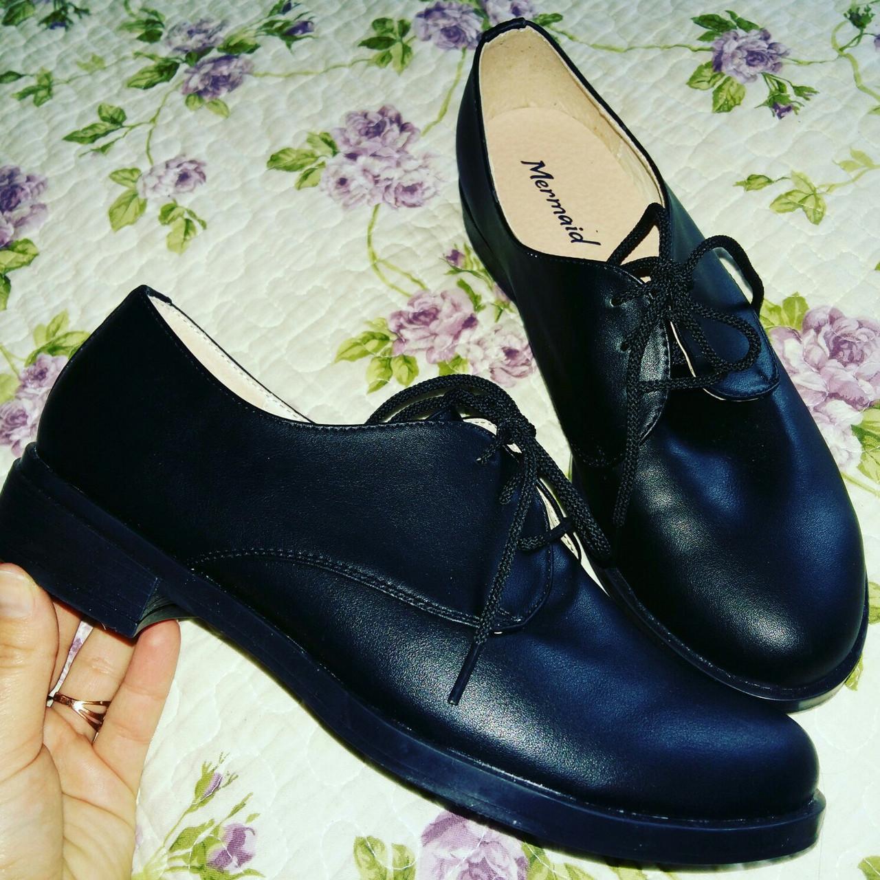 Черные кожаные туфли на шнурках в наличии  38