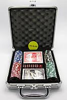 Покерный набор в кейсе (2 колоды карт +100 фишек) (23х25х8 см) (вес фишки 4 гр. d-39 мм)