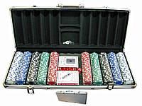 Покерный набор в кейсе (2 колоды карт +500 фишек) (59х25х9 см) (вес фишки 4 гр. d-39 мм)