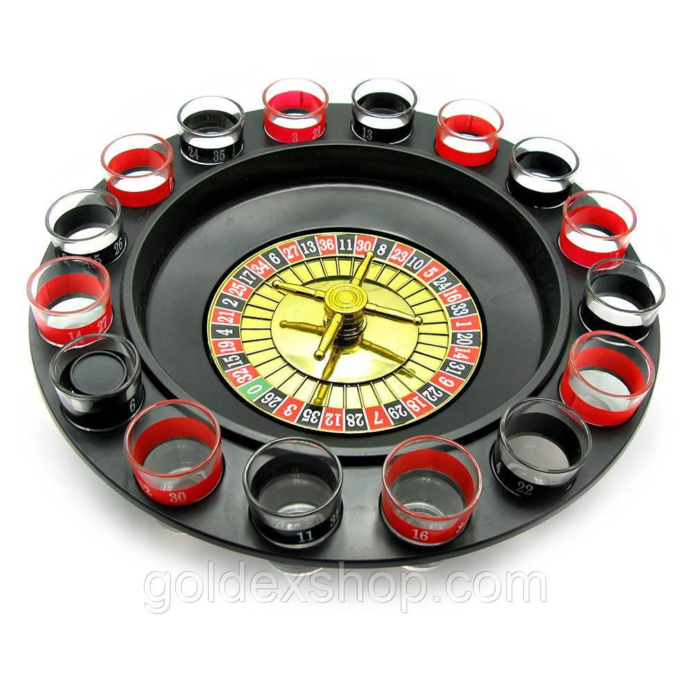 Рулетка с рюмками черная (33х33х9 см) (16 рюмок, пластмассовая подставка)
