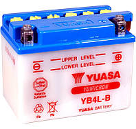 Аккумулятор мотоциклетный 4Ah 60A YUASA YB4L-B , APRILIA , PEUGEOT , MALAGUTI , YAMAHA , PIAGGIO, ITALJET