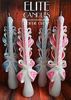 Свечи на крестины розового или голубого цвета