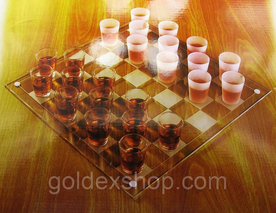 Шашки с рюмками стеклянные (35х35х6,5 см)