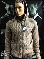 Стильный качественный тёплый мужской турецкий свитер - кофта на меху