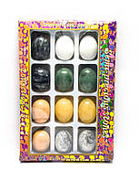 Яйца каменные набор (н-р/12шт) (яйцо h-4.5 см d-3 см) (упаковка 27х18х3,5 см)
