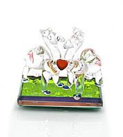 Верблюды с сердечком хрустальные (6х6х3 см)