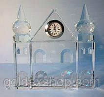 """Годинники настільні кришталеві """"Замок"""" (12,5*12*3 см)"""