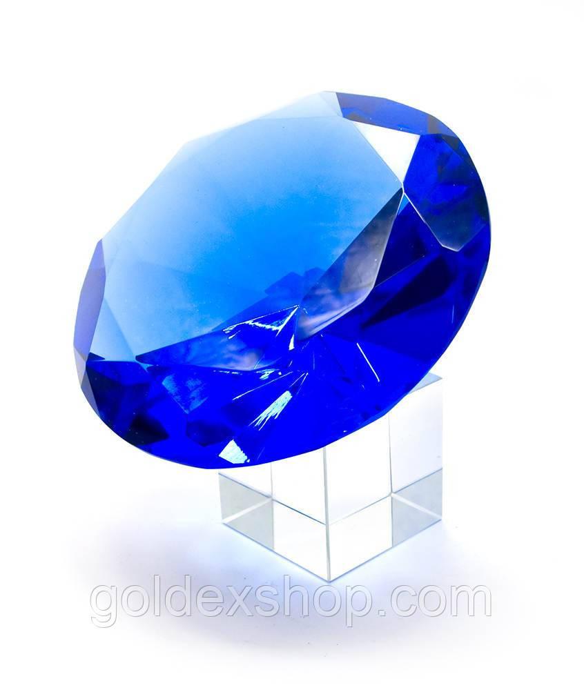Кристалл хрустальный на подставке синий (10 см)