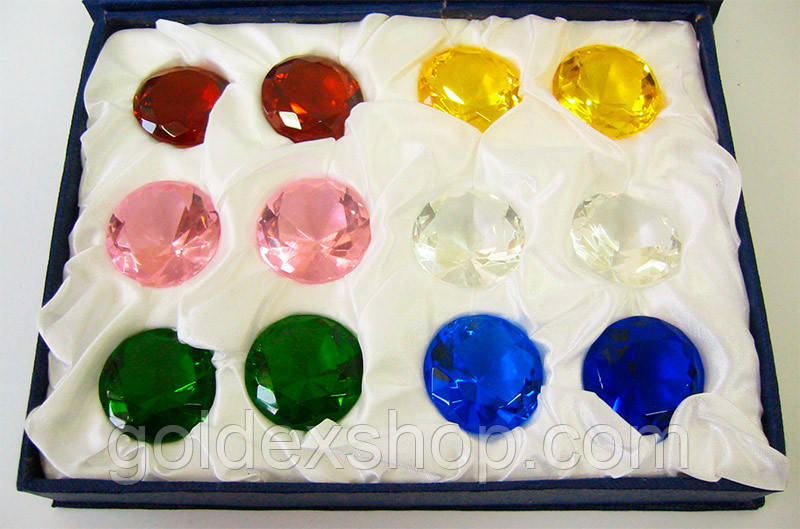 Кристаллы хрусталь (н-р 12 шт) (d-3 см упаковка 18х14х4 см)