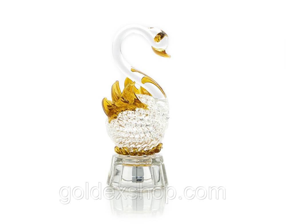 Лебедь хрустальный с подсветкой (10х4,5х4,5 см)