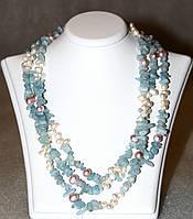 Ожерелье/Бусы из натурального АКВАМАРИНА и ЖЕМЧУГА