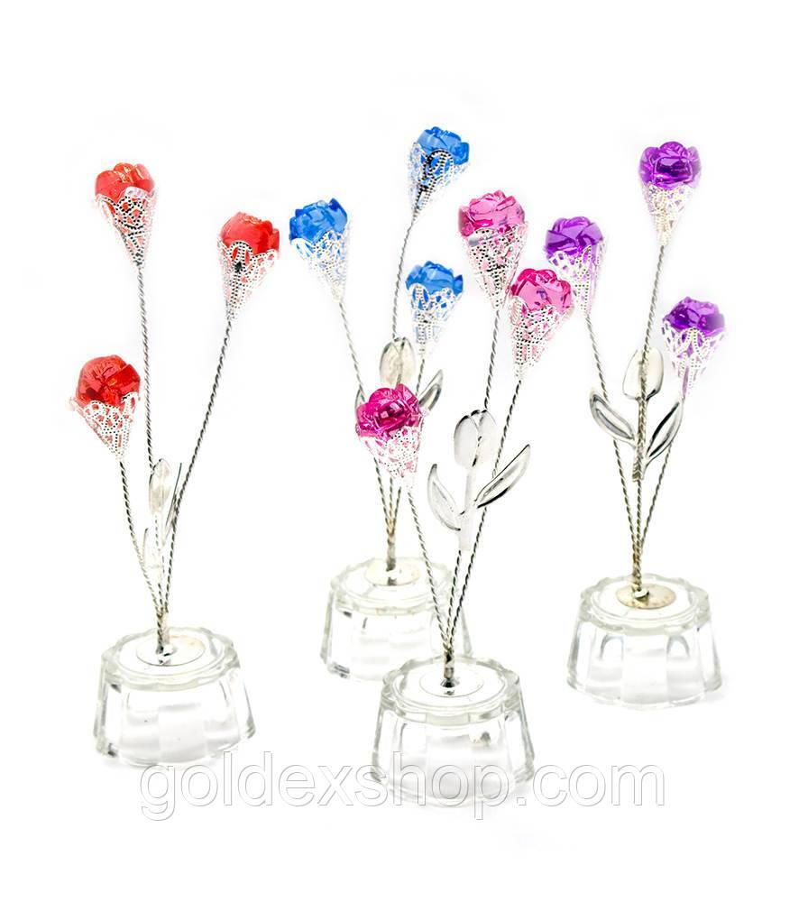 Цветок хрустальный (3 бутона) (15х5х5 см)